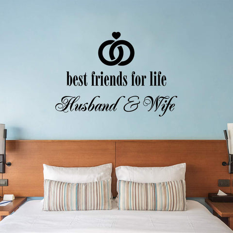 VWAQ Best Friends for Life Husband and Wife Wall Decal - Marriage Quotes Bedroom Decor