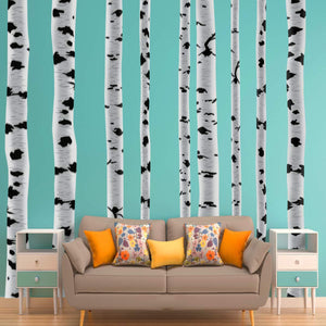 VWAQ Birch Trees Wall Decals - Forest Stickers Peel and Stick Removable and Reusable 9 Large PCS - HOL27