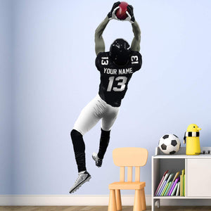 VWAQ Personalized Football Player Wall Decal - Custom Name Sports Wall Sticker Peel and Stick - HOL30 - VWAQ Vinyl Wall Art Quotes and Prints