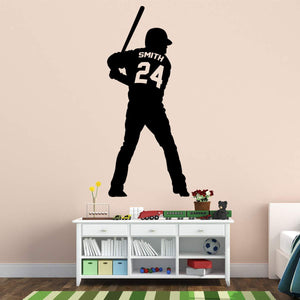 VWAQ Personalized Baseball Player Wall Decals for Boys Room - Custom Name Sports Vinyl Sticker - CS13 - VWAQ Vinyl Wall Art Quotes and Prints