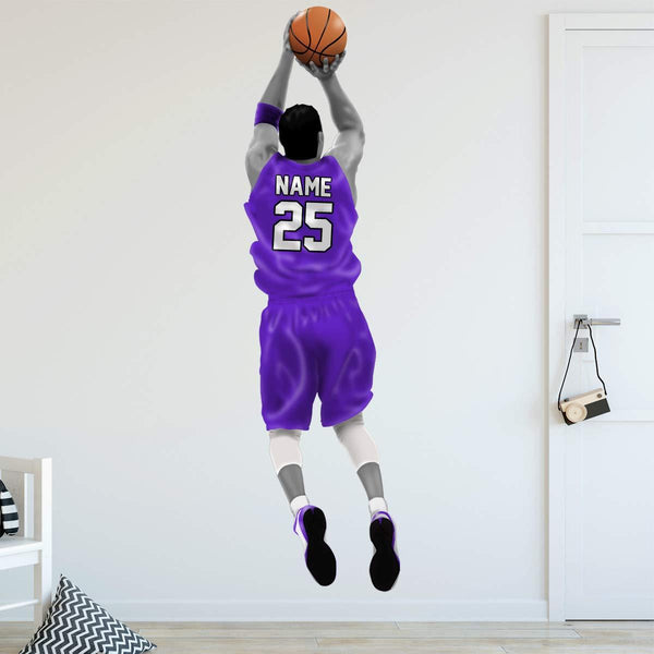 VWAQ Personalized Basketball Player Wall Decal - Custom Name Sports Wall Sticker Peel and Stick - HOL31 - VWAQ Vinyl Wall Art Quotes and Prints