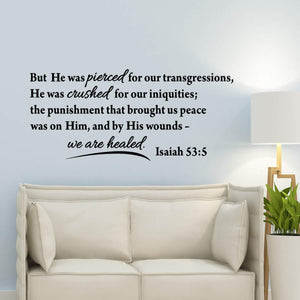 VWAQ But He was Pierced for Our Transgressions Isaiah 53 5 Bible Verse Wall Decal - VWAQ Vinyl Wall Art Quotes and Prints