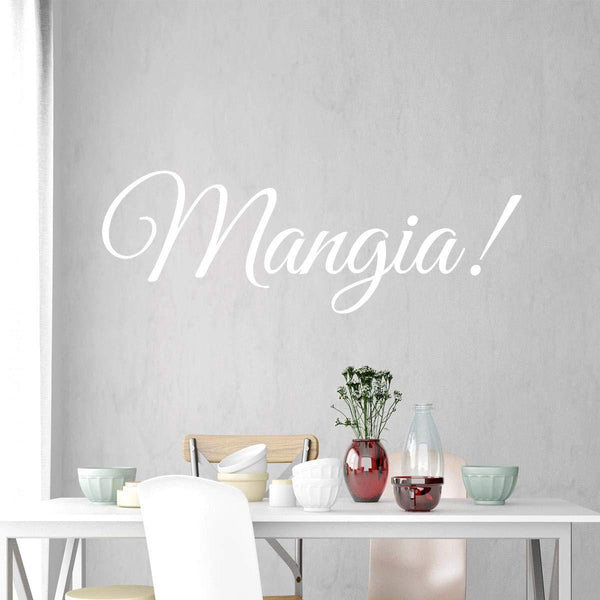 VWAQ Mangia Wall Decal - Eat Kitchen Sticker - Italian Quotes Decor - VWAQ Vinyl Wall Art Quotes and Prints