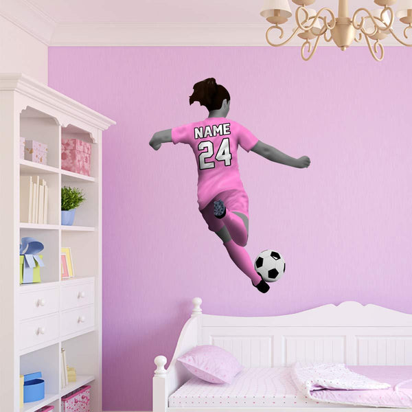 VWAQ Personalized Girl Soccer Player Wall Decal - Custom Name Sports Sticker Decor - HOL32 - VWAQ Vinyl Wall Art Quotes and Prints