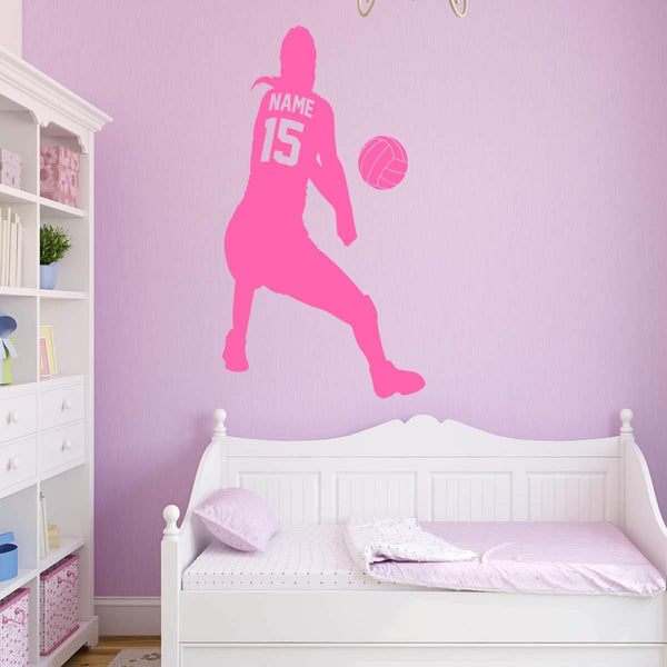 VWAQ Personalized Volleyball Wall Decal - Custom Name Wall Decor for Girls Sports Vinyl Sticker - CS15 - VWAQ Vinyl Wall Art Quotes and Prints