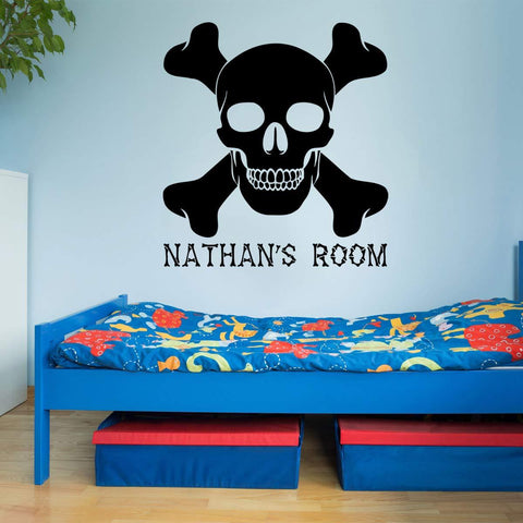 VWAQ Custom Skull and Crossbones Wall Decal - Jolly Roger Vinyl Sticker Personalized Decor - CS16 - VWAQ Vinyl Wall Art Quotes and Prints