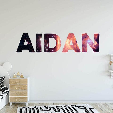 VWAQ Custom Name Space Wall Decal Personalized Kids Room Galaxy Sticker - Horizontal-GN9 - VWAQ Vinyl Wall Art Quotes and Prints