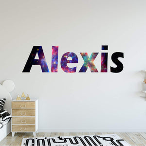 VWAQ Galaxy Name Wall Decal with Personalized Name Horizontal Letters - GN16 - VWAQ Vinyl Wall Art Quotes and Prints