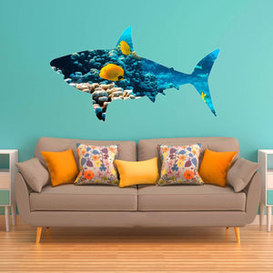 VWAQ Coral Reef Great White Shark Wall Decal - Peel and Stick Ocean Sticker - SC08 - VWAQ Vinyl Wall Art Quotes and Prints