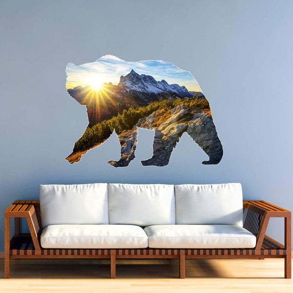 VWAQ Grizzly Bear Wall Art Decal - Peel and Stick Animal Natural Wall Sticker - SC01 - VWAQ Vinyl Wall Art Quotes and Prints