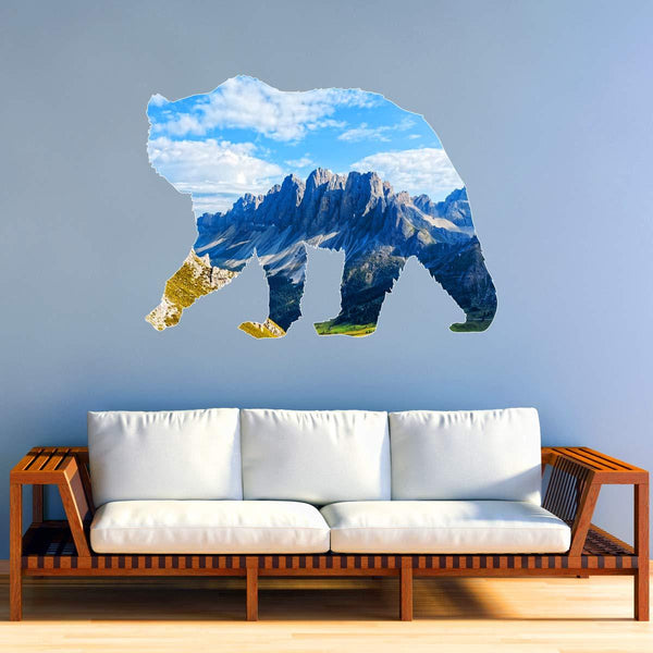 VWAQ Mountain Landscape Wall Art - Grizzly Bear Animal Decal Peel and Stick - SC03 - VWAQ Vinyl Wall Art Quotes and Prints