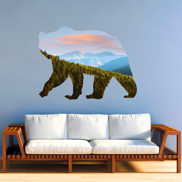 VWAQ Grizzly Bear Mountain Range Wall Decal - Natural Animal Peel and Stick Sticker - SC04 - VWAQ Vinyl Wall Art Quotes and Prints