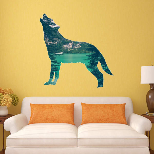 VWAQ Howling Wolf Wall Art Decal - Peen and Stick Animal Sticker Nature Decor - SC10 - VWAQ Vinyl Wall Art Quotes and Prints