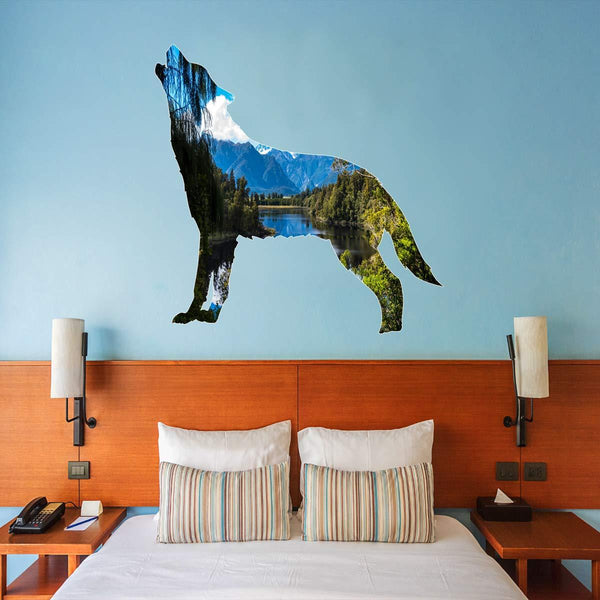 VWAQ Lake View Wall Decal - Howling Wolf Wall Art Peel and Stick Animal - SC11 - VWAQ Vinyl Wall Art Quotes and Prints