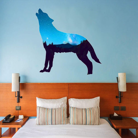 VWAQ Howling Wolf Night Sky Wall Decal - Scenery Sticker Nature Decor - SC14 - VWAQ Vinyl Wall Art Quotes and Prints