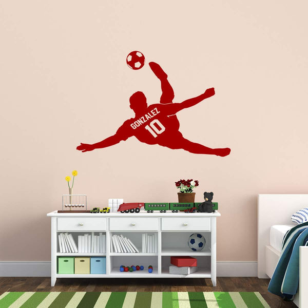 VWAQ Personalized Soccer Player Wall Decal Custom Name Boys Room Sports Decor - CS17 - VWAQ Vinyl Wall Art Quotes and Prints