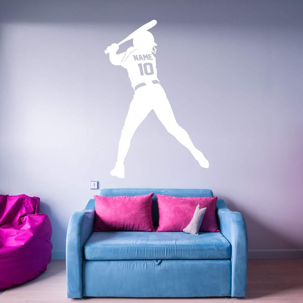 VWAQ Custom Softball Wall Decal with Name and Jersey Number - Personalized Sports Girls Room Decor - CS18 - VWAQ Vinyl Wall Art Quotes and Prints