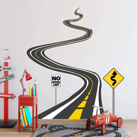 VWAQ Winding Road Wall Decals with Street Signs Stickers - Peel and Stick Kids Room Fun Decor - HOL43