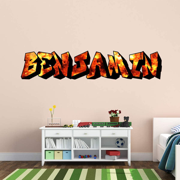 VWAQ Custom Flames Wall Stickers Name - Personalized Graffiti Decals Kids Room Decor - GN31
