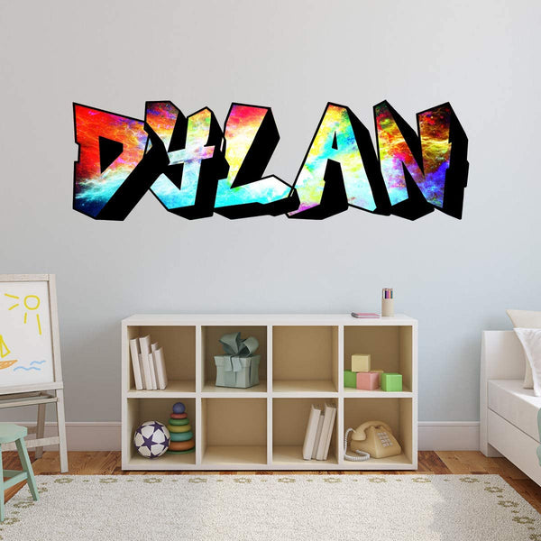 VWAQ Custom Graffiti Wall Decals Name - Personalized Kids Rooms Decor Hip Hop Vinyl Sticker - GN30