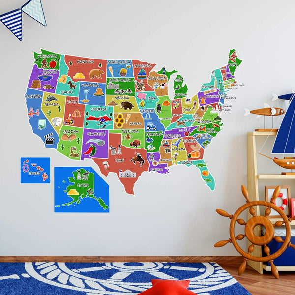VWAQ US Map Wall Decal United States of America Sticker Peel and Stick Kids Decor - HOL44