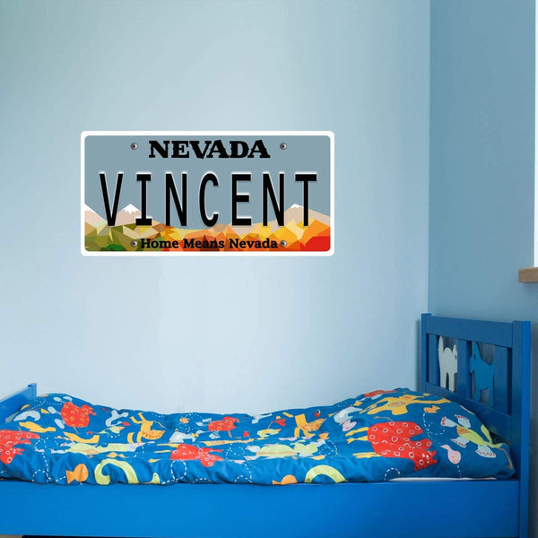 VWAQ Custom Name Nevada License Plate Wall Decal - Kids Room Sticker Decor - NS5