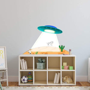 VWAQ UFO Wall Decal Alien Abduction Sticker Peel and Stick Kids Room Decor - PAS34
