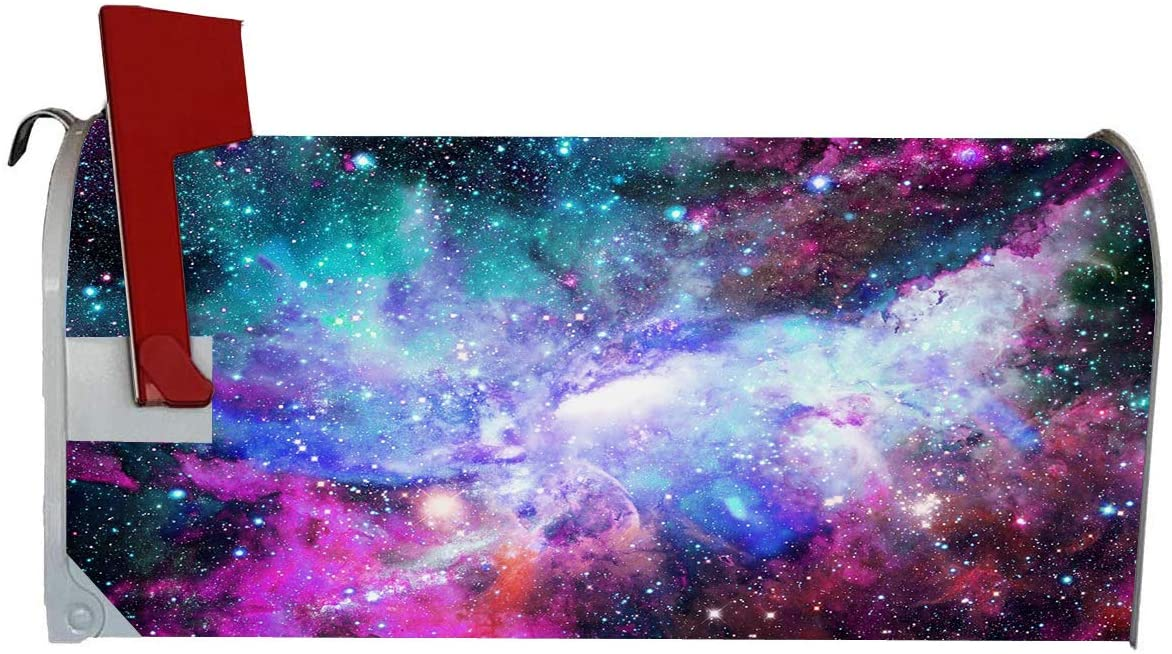 VWAQ Space Mailbox Covers Magnetic - Galaxy Mailbox Wrap Nebula Decor - MBM19