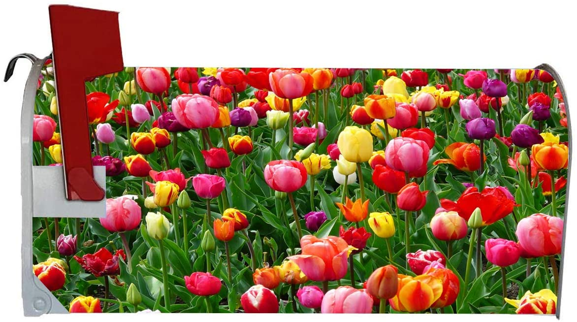 VWAQ Spring Tulip Magnetic Mailbox Cover - Summer Flowers Decorative Magnet - MBM23