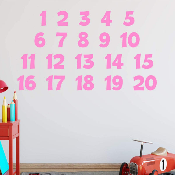VWAQ Numbers Wall Decals for Kids Classroom Educational Vinyl Stickers