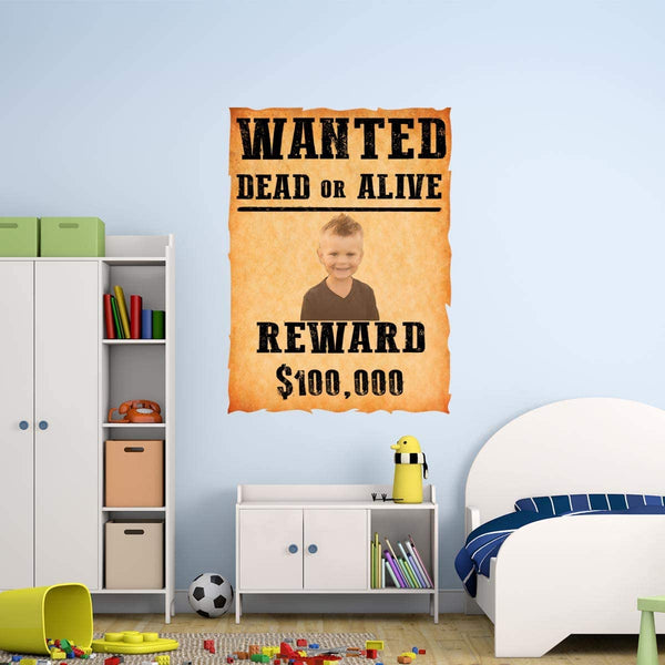 VWAQ Custom Wanted Dead or Alive Wall Decal - Upload Your Own Picture - Personalized Kids Room Sticker - HOL48