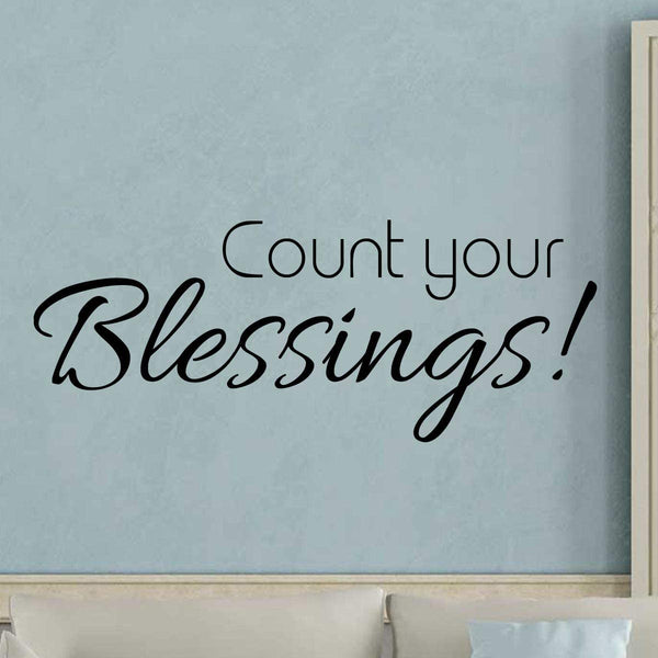 VWAQ Count Your Blessings Wall Decal Sticker - Inspirational Faith Quote Decor