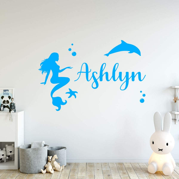 VWAQ Custom Name Mermaid Wall Decal Personalized Girls Room Decor - CS19