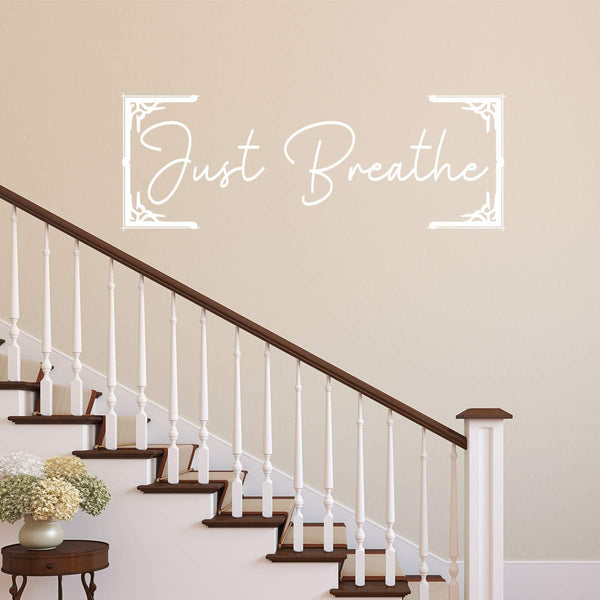 VWAQ Just Breathe Wall Decal Relaxing Quotes Inspirational Vinyl Lettering