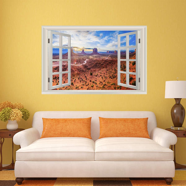 VWAQ - 3D Window Wall Decals Monument Valley Desert Landscape Peel and Stick Nature Mural - NWT11
