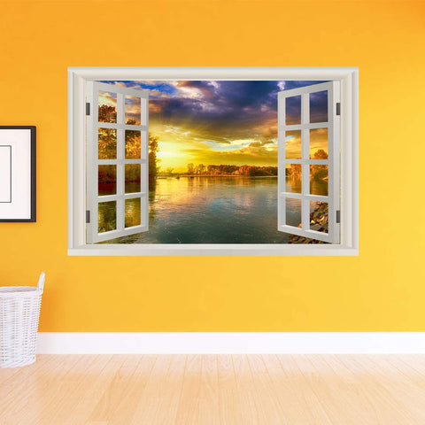 VWAQ - Sunset Window Wall Decal Peel and Stick Lake Scenery Nature Decor Sticker - NWT13
