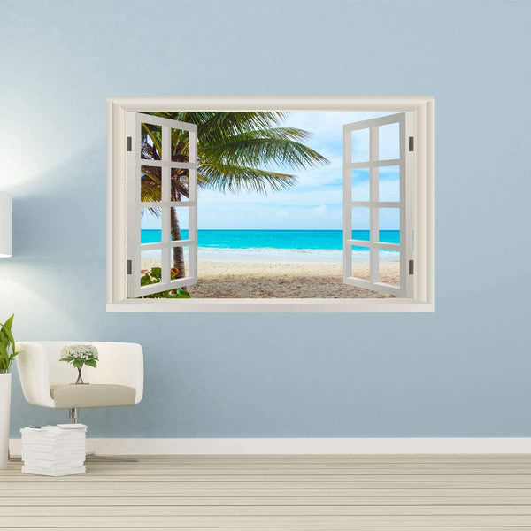 VWAQ - 3D Window Ocean Beach Palm Trees Wall Decals Sea Decor Sticker Seascape Mural - NWT15