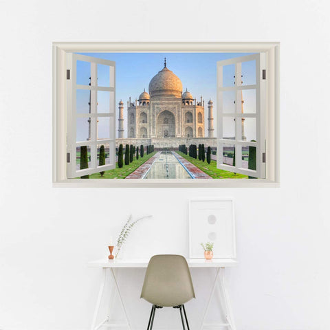 VWAQ - Taj Mahal Wall Art Decal 3D Window View Sticker Peel and Stick Scenic Mural - NWT16
