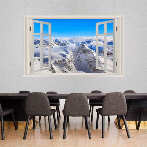 VWAQ - Snow Mountain Range Wall Mural Sticker - Winter Wall Art Decal 3D Window View - NWT17