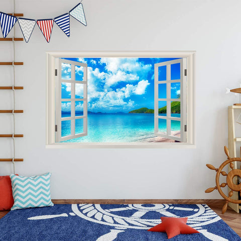 VWAQ - Tropical Beach Window Wall Art Decals 3D Ocean Sticker Seascape Mural - NWT19
