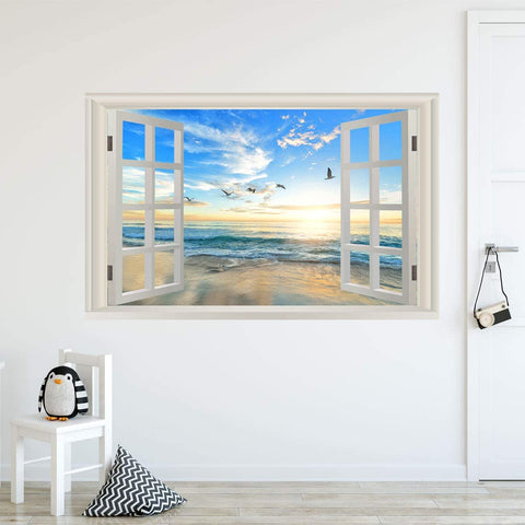 VWAQ - Sunset Beach Window Wall Decals 3D Ocean View Sticker Seascape Mural - NWT20