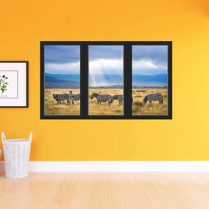 VWAQ - Zebra Wall Art Decal - 3D Office Window Safari Sticker African Savannah Decor - OW18