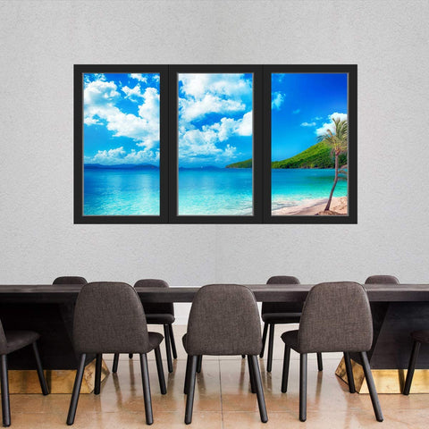 VWAQ - Tropical Beach 3D Office Window Wall Art Decals Ocean Sticker Seascape Mural - OW19