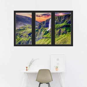 VWAQ - 3D Office Window Waterfall Decal Nature Peel and Stick Mural Wall Art Sticker - OW12