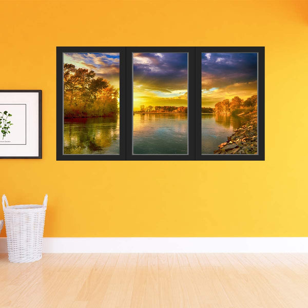 VWAQ - 3D Office Window Sunset Wall Decal Peel and Stick Lake Scenery Nature Decor Sticker - OW13