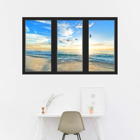 VWAQ - Sunset 3D Beach Office Window Wall Decals Ocean View Sticker Seascape Mural - OW20