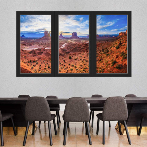 VWAQ - 3D Window Wall Stickers for Office Monument Valley Desert Landscape Decal Nature Mural - OW11