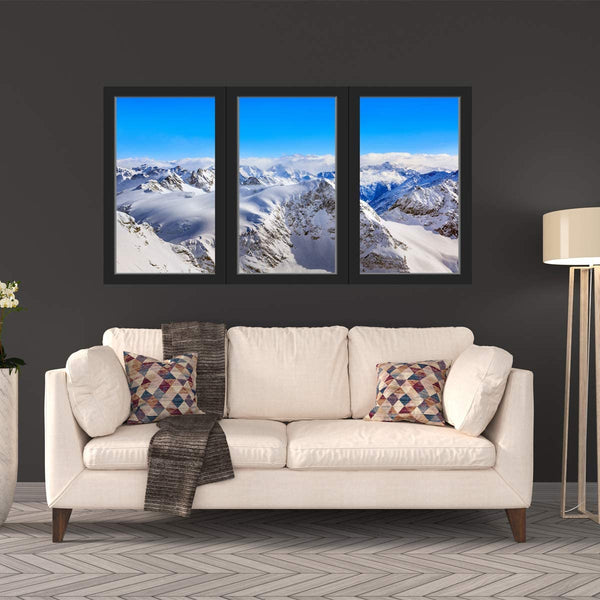 VWAQ - Snow Mountain Range 3D Window Wall Stickers for Office - Winter Wall Art Decal - OW17