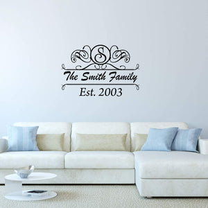 VWAQ Custom Family Name Wall Decal - Personalized Monogram Wall Sticker Year Established - CS21