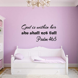 VWAQ God is Within Her She Shall Not Fall Wall Decal Psalm 46:5 Christian Bible Sticker Decor for Girls Room